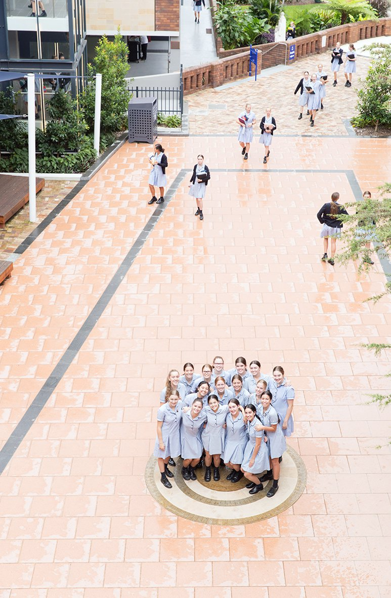 Aerial View of Students Huddled Together on Courtyard