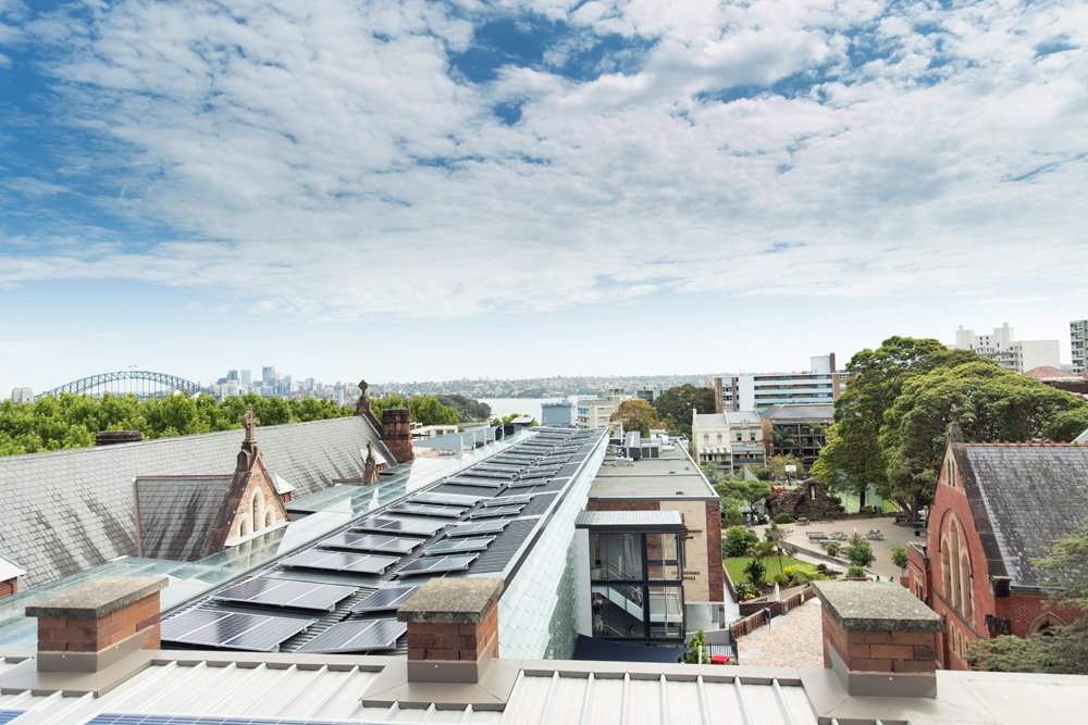 Expansive College Rooftop Views of City Skyline with Harbour Bridge
